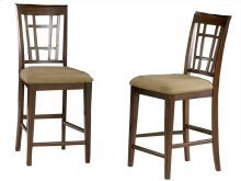 Montego Bay Pub Chairs Set of 2 with Cappuccino Cushion in Walnut