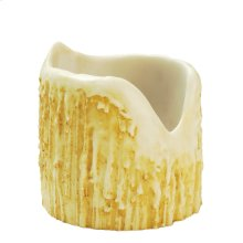 """4""""W X 4""""H Poly Resin Ivory Uneven Top Candle Cover"""