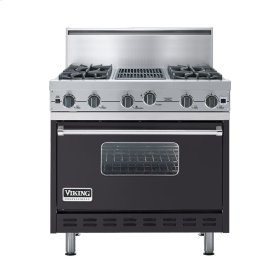 "Graphite Gray 36"" Open Burner Commercial Depth Range - VGRC (36"" wide, four burners 12"" wide char-grill)"