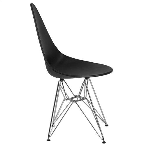 Allegra Series Teardrop Black Plastic Chair with Chrome Base