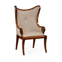 "Walnut ""Butterfly"" Upholstered Armchair"