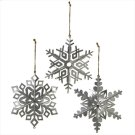 3 pc. ppk. Oversized Dimensional Galvanized Snowflake Ornament. Product Image