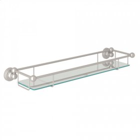 Satin Nickel Perrin & Rowe Edwardian Wall Mount Tempered Glass Vanity Shelf