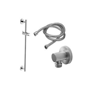 Multi-Series Slide Bar Handshower Kit - Cylinder Handle With Round Base - Polished Brass Uncoated