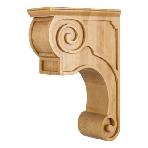 "3-3/8"" x 8"" x 11-3/4"" Hand-Carved Wood Corbel with Plain Design, Species: Cherry"