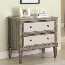 """Antique Silver"" & ""Black Crackle"" 2-Drawer Mirrored Console"