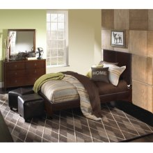 New Albany 3-Pc. Full Bedroom Set - Full Faux Leather Bed, 6-Drawer Dresser, Mirror