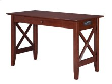 Lexi Desk with Drawer and Charging Station Walnut