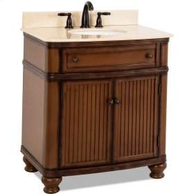 "32"" vanity with walnut finish and simple bead board doors and curved shape with preassembled top and bowl."
