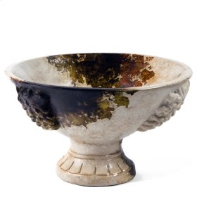 "Antiqued Crema "" Grape Embossed"" Pedestal Bowl"