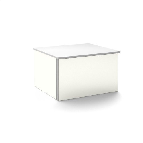 """V14 24-1/4"""" X 14"""" X 21"""" Wall-mount Vanity In Satin White With Push-to-open Full Storage Drawer and Night Light"""