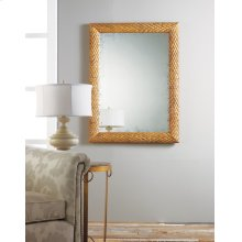 Rectangular Abstract Mirror, Carved Wood With Gold Textured Finish.