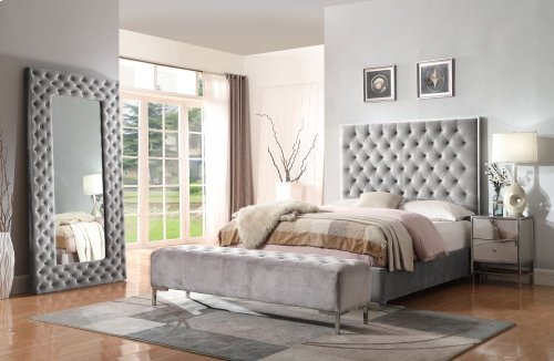 Emerald Home Lacey Upholstered King Headboard Silver Gray B132-12hb-03