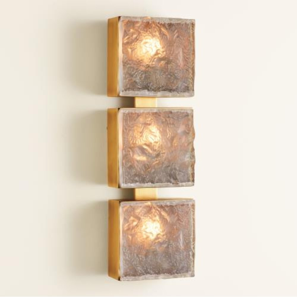 Triple Cube Sconce-Satin Brass-HW
