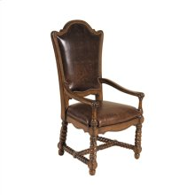 Hand Carved Dark Antique Lido Finished Armchair, Leather Uph, Brass Nailhead Accents