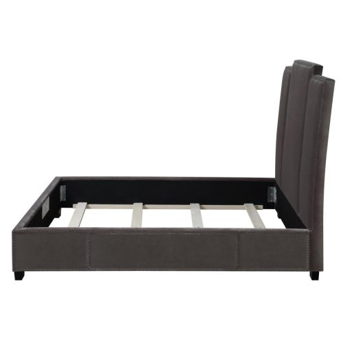 Lawndale Grey Velvet Upholstered Full Bed