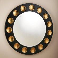 Domino Round Mirror-Black/Gold Leaf