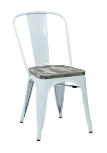 Bristow Metal Chair With Vintage Wood Seat, White Finish Frame & Ash Crazy Horse Finish Seat, 2-pack
