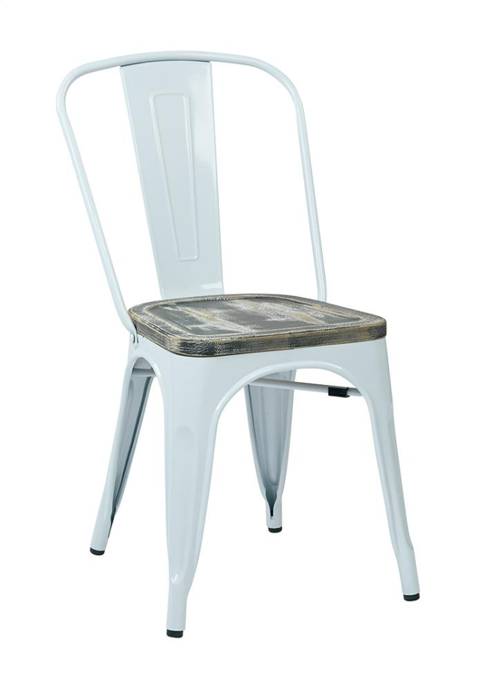 Bristow Metal Chair With Vintage Wood Seat, White Finish Frame U0026 Ash Crazy  Horse Finish Hidden