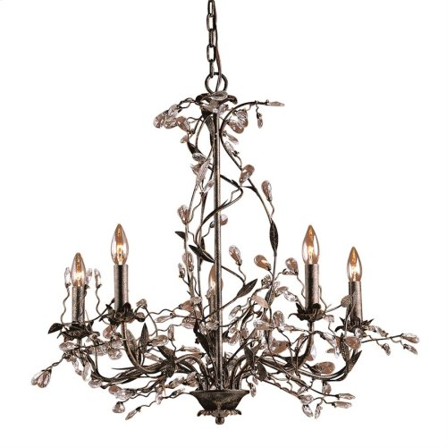 Circeo 5-Light Chandelier in Deep Rust with Crystal