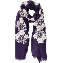Plum Floral Embroidered Scarf.