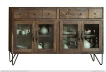 2 Drawer with 4 Glass Doors Console Cabinet