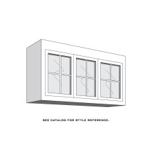 "Aspen Top Bridge Unit, 3-Glass Doors with Mullions, 1-Adjustable Shelf, Antique Glass, 48"" to 54"", Specify Width"