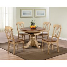 DLU-BR4260-C50-PW5PC  5 Piece Round or Oval Butterfly Leaf Dining Set with Napoleon Chairs