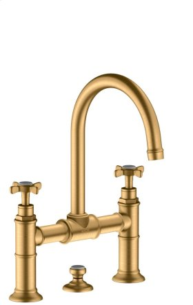 Brushed Brass 2-handle basin mixer 220 with pop-up waste set