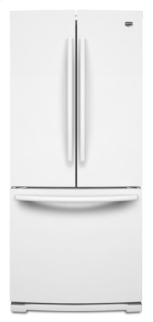 White-on-White Maytag® 19.6 cu ft French Door Refrigerator with Strongbox™ Door Bins