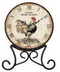 Rooster Clock on Stand 6.3x8.66x1.77 Product Image