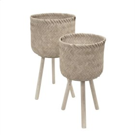 S/2 Bamboo Planters On Stand,whitewash