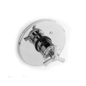Matte White Round Thermostatic Trim Plate with Handle