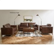 Drake Leather Loveseat with Metal Base in Taupe Product Image