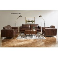Drake Leather Sofa with Metal Base in Taupe