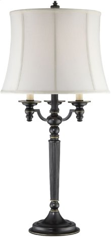 Table Lamp - Aged Black/off-white Fabric Shade, E27 A 100w