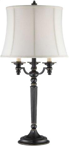 Table Lamp - Aged Black/off-white Fabric Shade, E27 A 100w
