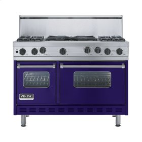 """Cobalt Blue 48"""" Sealed Burner Self-Cleaning Range - VGSC (48"""" wide, four burners & 24"""" wide wok/cooker)"""