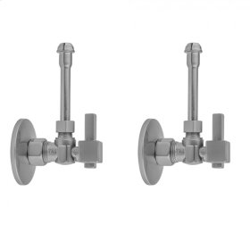 "Satin Nickel - Quarter Turn Angle Pattern 5/8"" O.D. Compression (Fits 1/2"" Copper) x 3/8"" O.D. Faucet Supply Kit with Square Lever Handle, 20"" Supply Tubes, Escutcheons"