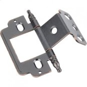 """Full Inset Partial Wrap 3/4"""" Flush Hinge with Decorative Finial Tip Dark Brushed Antique Copper"""