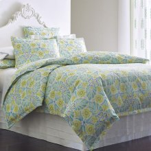 Painted Medallions Duvet Cover & Shams, LAKE, KG