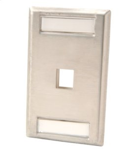 Single gang stainless steel faceplate, holds one Keystone jack or module