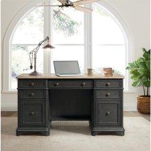 Barrington Two Tone - Double Pedestal Desk - Antique Oak/matte Black Finish