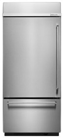 """20.9 Cu. Ft. 36"""" Width Built-In Stainless Bottom Mount Refrigerator with Platinum Interior Design - Stainless Steel"""