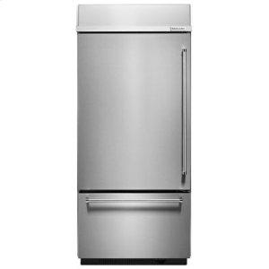 "KITCHENAID20.9 Cu. Ft. 36"" Width Built-In Stainless Bottom Mount Refrigerator with Platinum Interior Design - Stainless Steel"