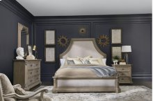 Arch Salvage Queen Bryce Upholstered Bedroom Group: Queen Bed, Nightstand, Dresser & Mirror