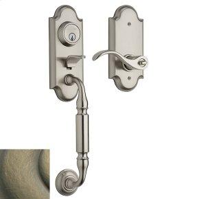 Satin Brass and Black Ashton Two-Point Lock Handleset