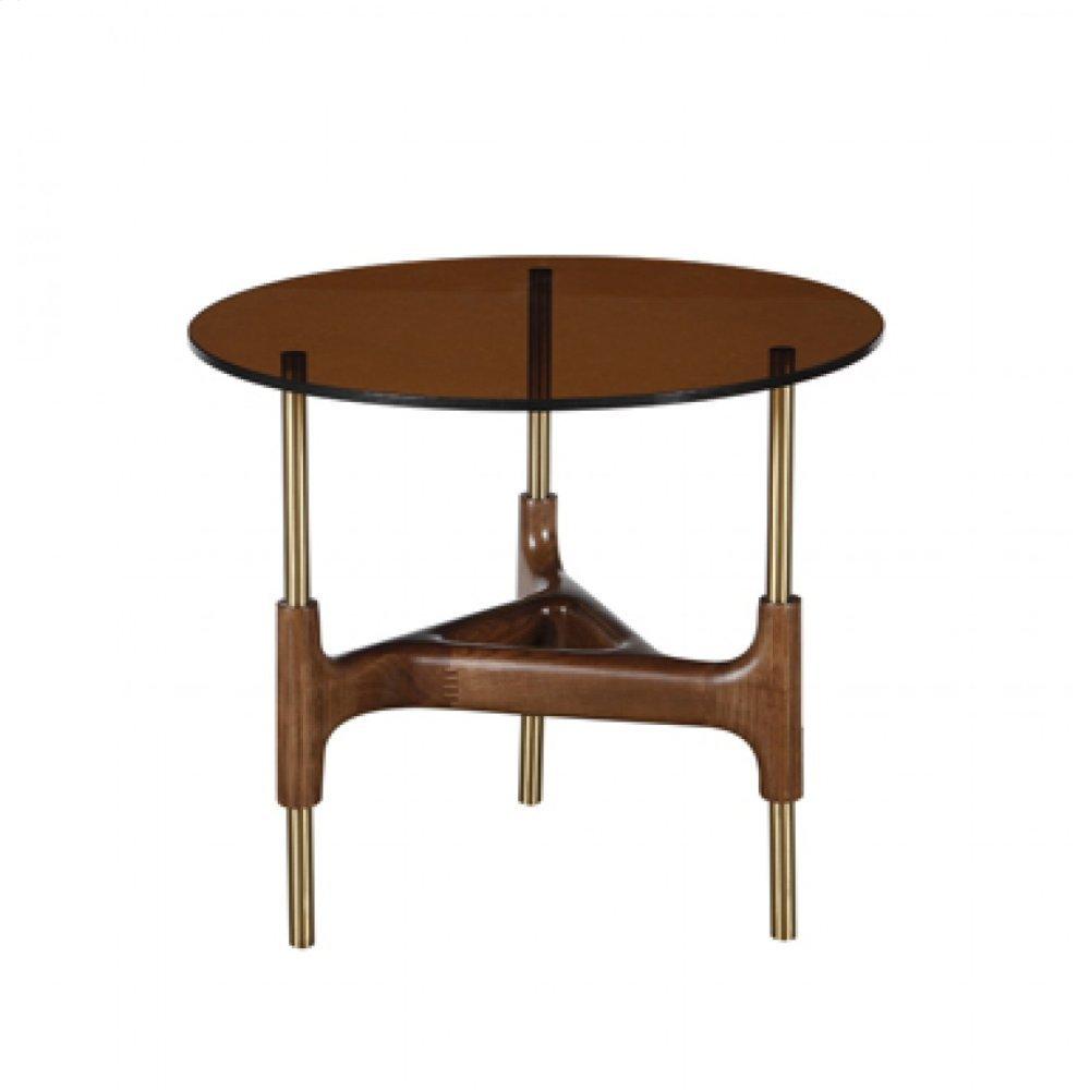 Modrest Lawson Modern Round Walnut & Glass End Table