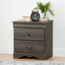 2-Drawer Nightstand - Gray Maple