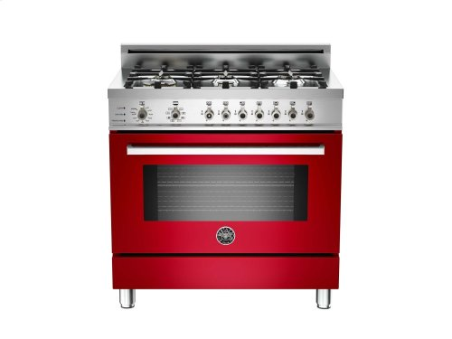36 6-Burner, Electric Self-Clean Oven Red